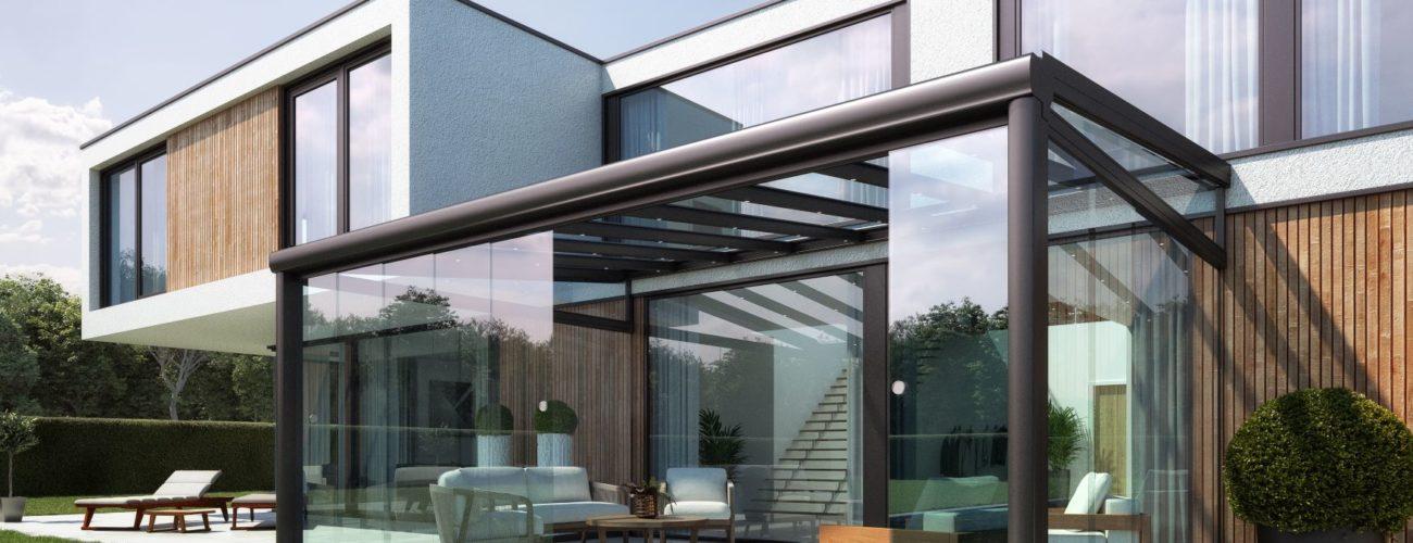 Pergola en verre avec fermetures latérales vitrées