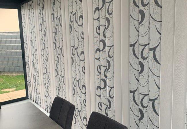 Stores intérieurs de véranda à bandes verticales anti-chaleur